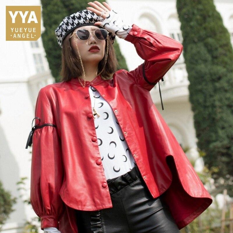 2019 Spring New Korean Loose Jacket Sheepskin Female Genuine Leather Coats Single Breasted Bow Lantern Sleeve