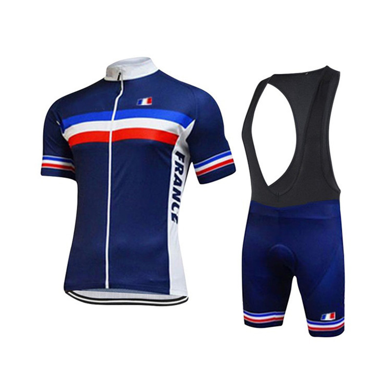 Blue Cycling Clothing French Team Cycling Jersey Quick Dry Bike Clothes Summer Short Sleeve Cycling Set Gel Pad Shorts