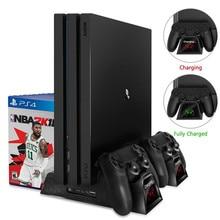 Зарядное устройство PS4/PS4 Slim/PS4 Pro двойной контроллер зарядное устройство консоль вертикальная охлаждающая подставка зарядная станция Док-станция для SONY Playstation 4