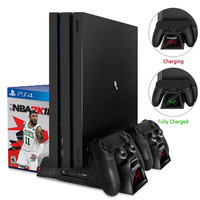 Charger PS4/PS4 Slim/PS4 Pro Dual Controller Charger Console Vertical Cooling Stand Charging Station Dock For SONY Playstation 4