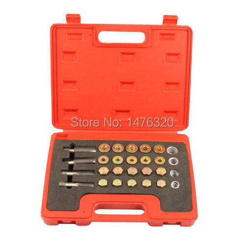 Automotive Oil Pan Sump Drain Plug Thread Repair Tool Set M13 M15 M17 M20 AT2041