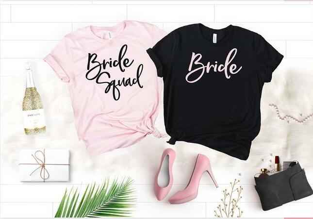 Sugarbaby Camisas da Festa de Despedida do Esquadrão Roupas Da Dama de honra Da Noiva Partido camiseta de Manga Curta Moda Roupas de Casamento dropship