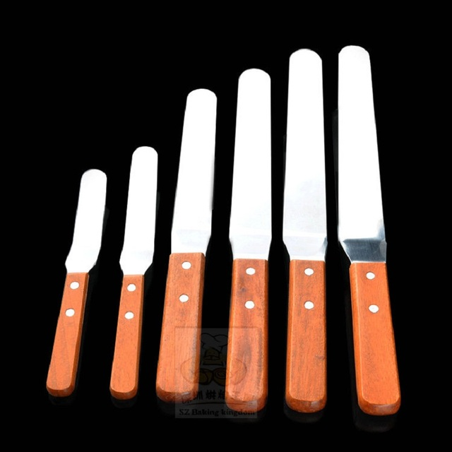 Angled Icing Spatula Palette Knife Wooden Handle Stainless Steel Blade Baking Tool Smoother Cake Decorating Tools