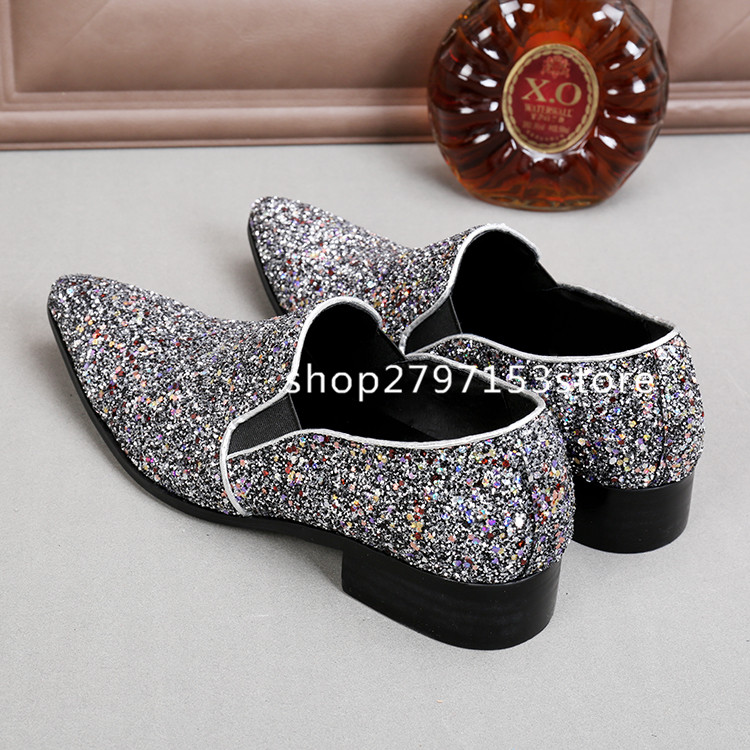 New Fashion Colorful Sequins Sliver Mens Leather Shoes Plus Size Lazy Flats Top Quality Point Toe Men Casual Shoe Zapatos Hombre цены онлайн