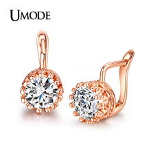 UMODE Bijoux Femme  Rose Gold /Rhodium plated 1.25ct AAA CZ  Trendy Clip Earrings For Women Jewelry Gifts AJE0227