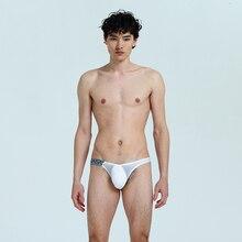 Cintura baixa masculina metade u convexo sexy triangular de secagem rápida respirável sem costura roupa interior 001bk