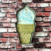 Ice Cream Advertising Signboard Gelateria Illuminated Signage Painting Neon Sign Wall Hanging LED Metal Signs For