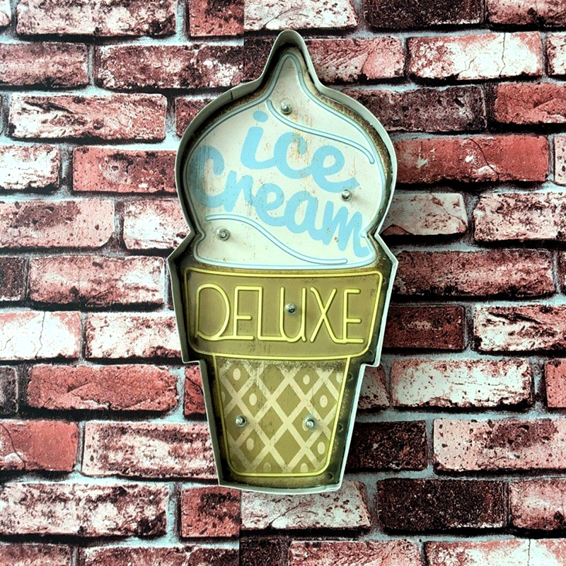 Ice Cream Advertising Signboard Gelateria Illuminated Signage Painting Neon Sign Wall Hanging LED Metal Signs For Shop Cafe A869