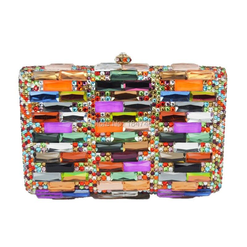 Diseñador Bolso de Embrague Multicolor Cristalino de Lujo de Las Mujeres de Blin