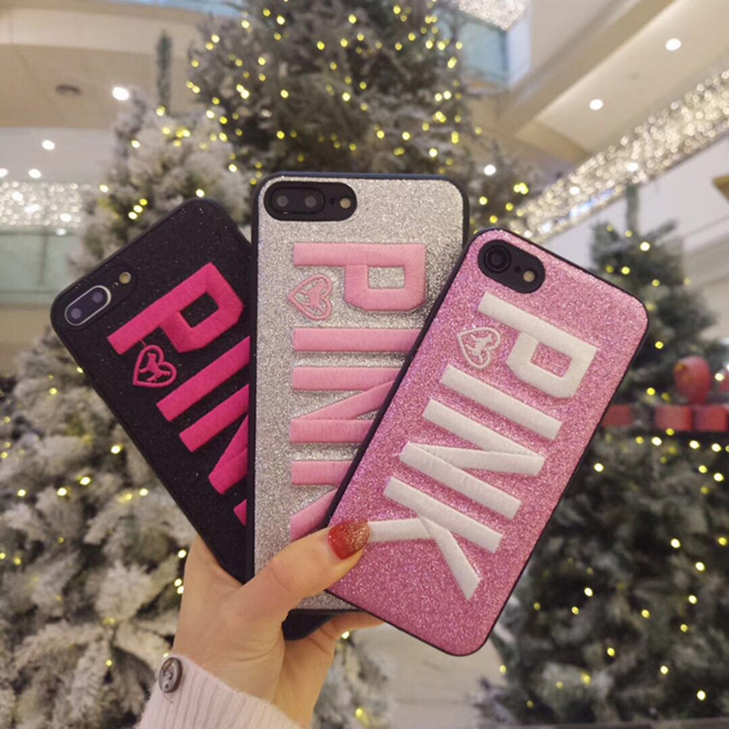 PINK Cover Fashion Design Glitter 3D Embroidery Love Pink Phone Case For iPhone X 8 7 Plus 6 6s Samsung S8 S9 plus