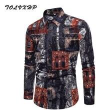 8db2369f6f Homens Camisa Manga Longa Slim Fit Estampas florais Camisas de Vestido Dos Homens  Camisa Dos Homens