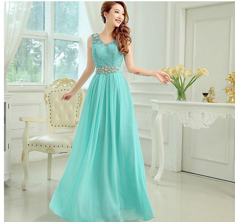 Vestido Madrinha 2019 Lace Chiffon Crystal Belt Belt Sexy V Neck A Line Turquoise Royal Blue Pink Purple Bridesmaid Dresses Long