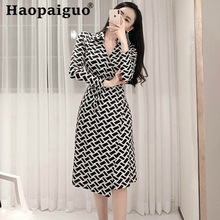Korean Style Print Geometric Long Sleeve Summer Dress 2019 for Women Casual Midi Ladies Dresses Plus Size Robe Longue Femme