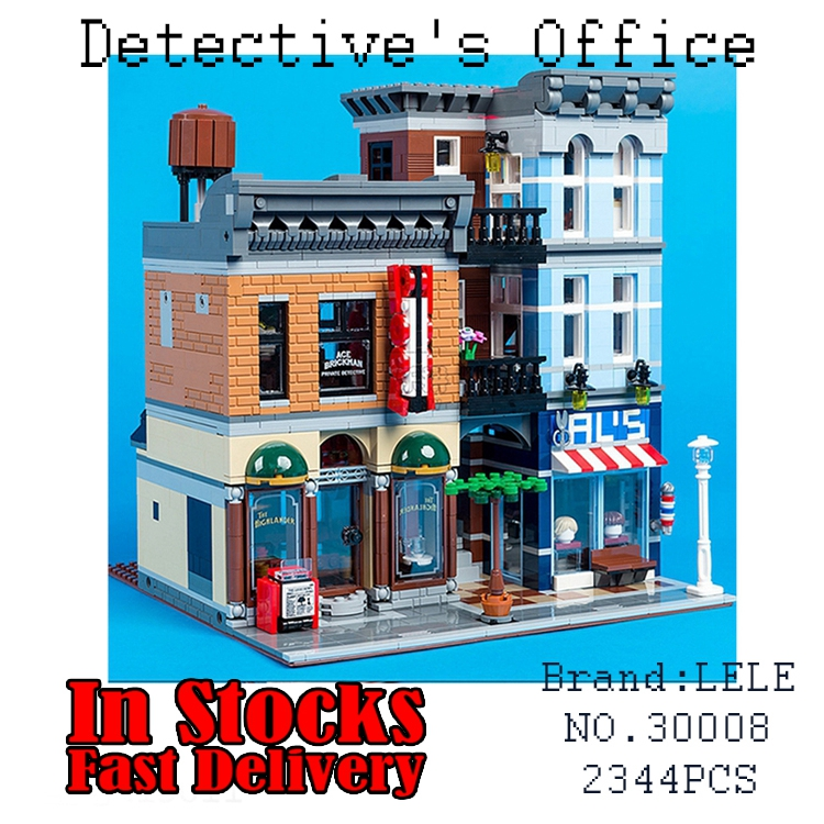 30008 2262Pcs LELE Creator City Street Detective's Office Model Building Blocks Bricks Toys for children Christmas gifts 10246 2262pcs 30008 lele city figures detective s office model building kits blocks bricks toy for children gift compatible with 10246