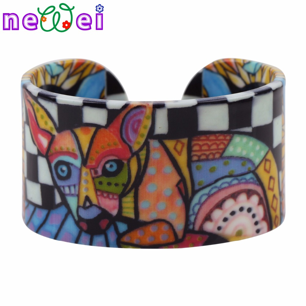 NEWEI Acrylic Chihuahua Dog Love Wide Bangle Bracelets Animal Jewelry For Women News Trendy Accessories Manchette Gifts