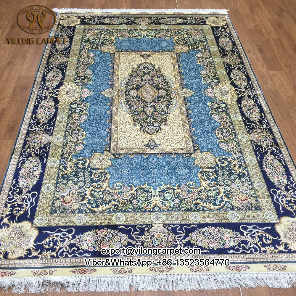 Yilong 5 X8 Orienal Chinese Hand Knotted Silk Rugs Fine Handmade Oriental Carpets S80a5x8