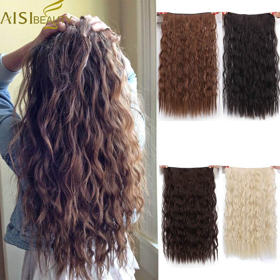 AISI BEAUTY Long Clips in Hair Extension Synthetic Natural Hair Water Wave Blonde Black 22