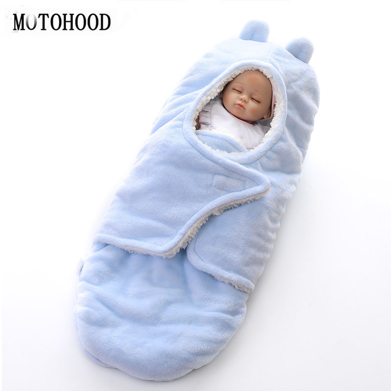 MOTOHOOD Winter New Baby Blankets Thicken Double Layer Coral Fleece Infant Swaddle Wrap Newborn Baby Bedding Blanket 0-12m