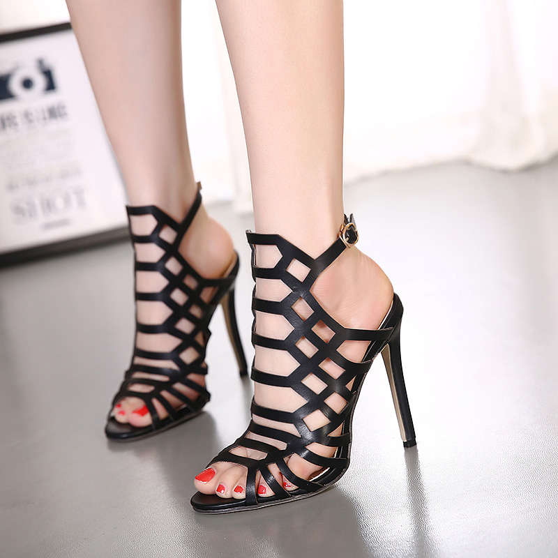 c5057c47c77 US $25.6 |new Rome style cutouts women High heeled sandals Thin heels T  type buckle shos Sexy Serpentine black Leather sandals size35 40-in Women's  ...