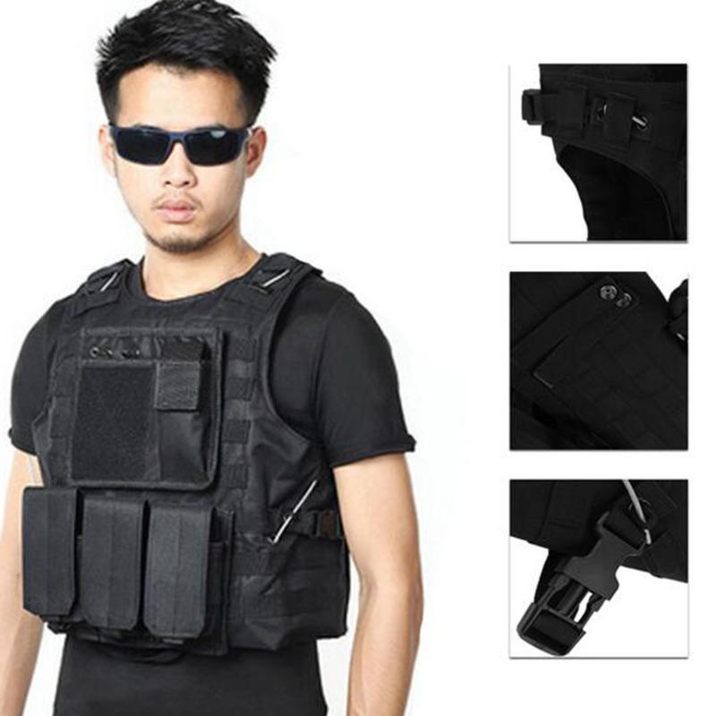 Multi-Function Oxford cloth Bulletproof CS Body Armor Hunting Vest Jungle Outdoors Equipment Black for Tactical Sports