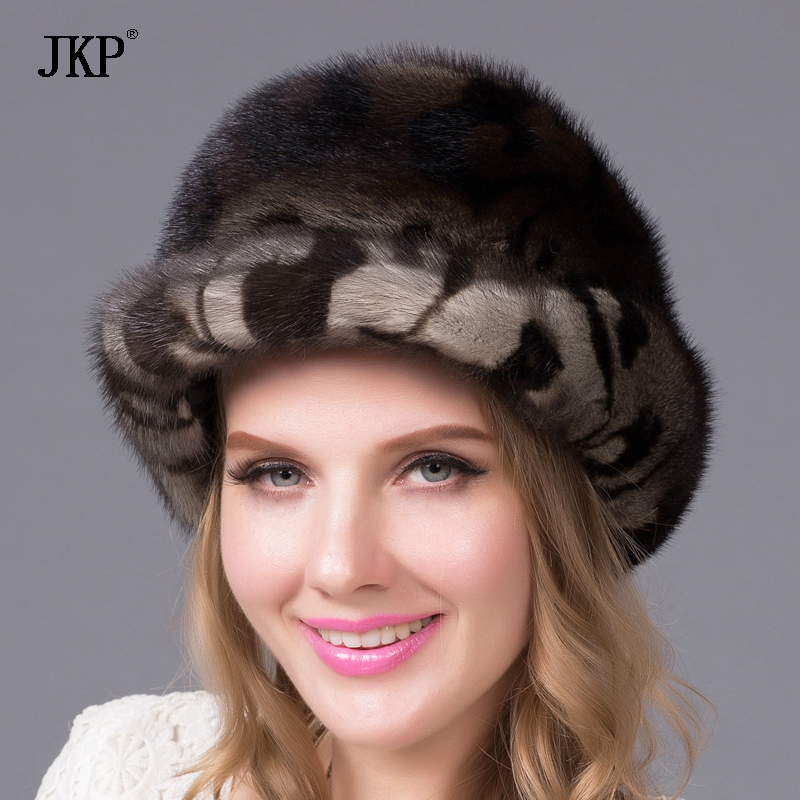Women's hats winter genuine mink fur hat for women luxury fashion high-end ladies fur berets caps