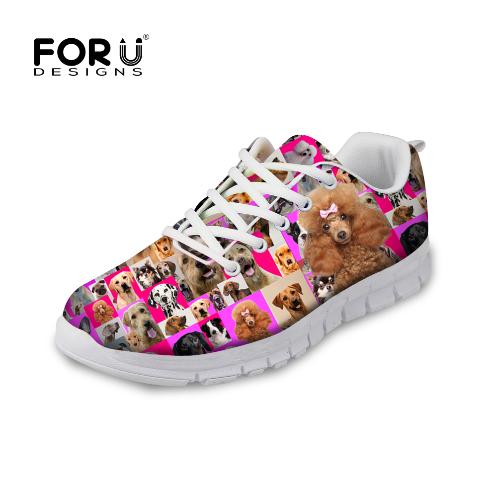 FORUDESIGNS Breathable Trainer Shoes Light Print Pug Dog Casual Shoes for Women Comfort Walking Shoes Casual Women Flat Trainer