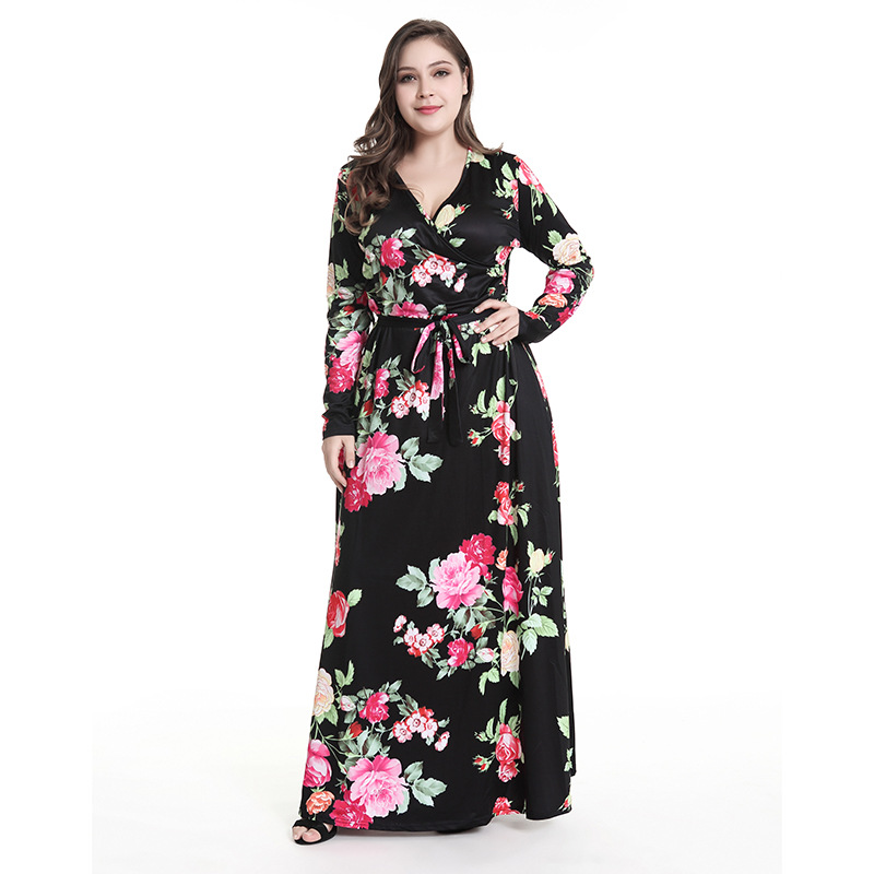 2018 Autumn winter Long Dress Women Fashion Floral print Sexy Deep V beach Casual Evening Party bandage Dresses plus size 4XL