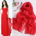Lenços 100% seda pura cobertor Novo Chinês Vermelho de luxo mulheres lenço muçulmano hijab Árabe xales pashmina lenços de viscose Fina e Macia