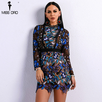 Missord 2018 Sexy Spring And Summer O Neck Elegant Patchwork Hollow Out Dresses Female Long Sleeve