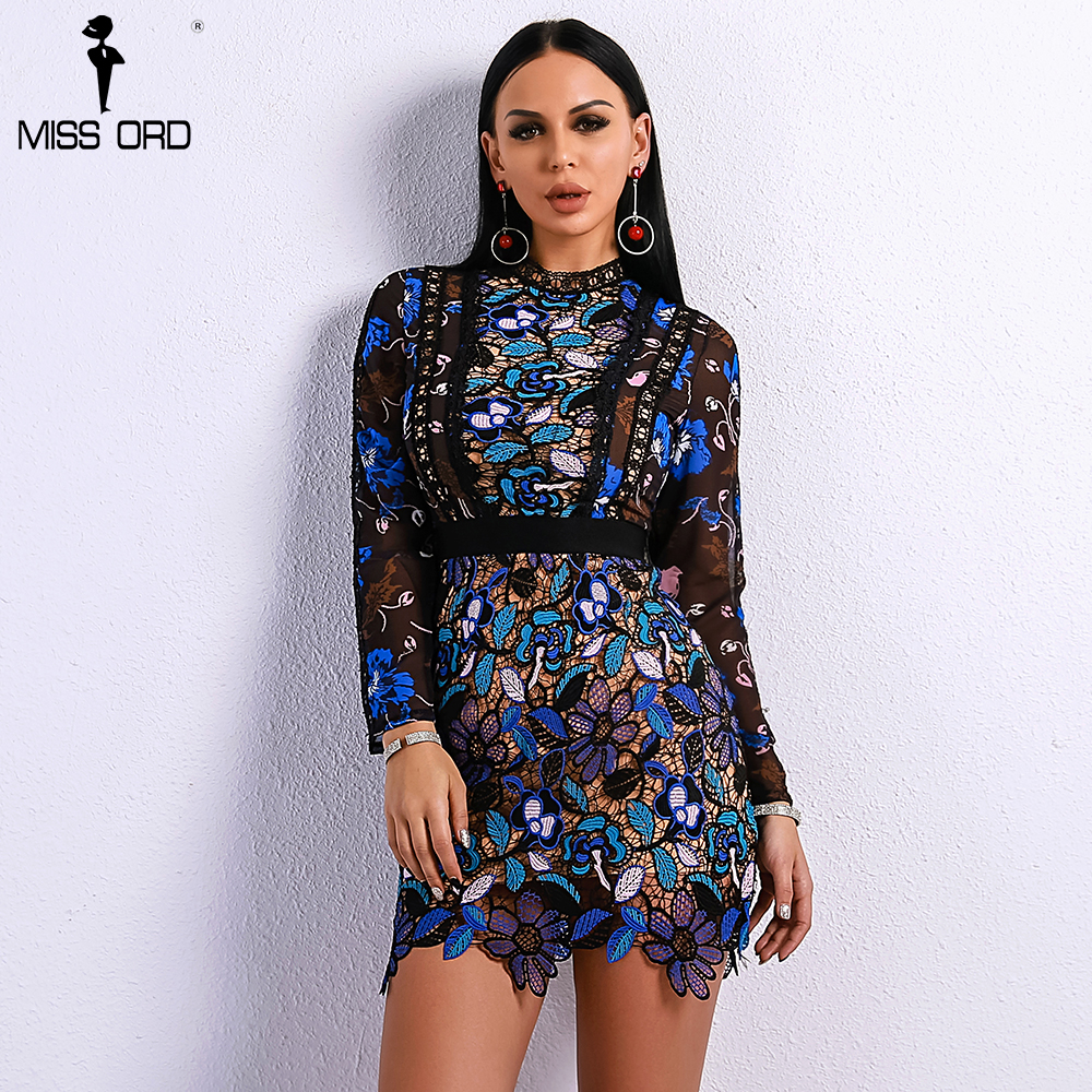 Missord 2018 Sexy Spring and Summer O Neck Elegant Patchwork Hollow Out Dresses Female Long Sleeve Party Mini Dress FT9088