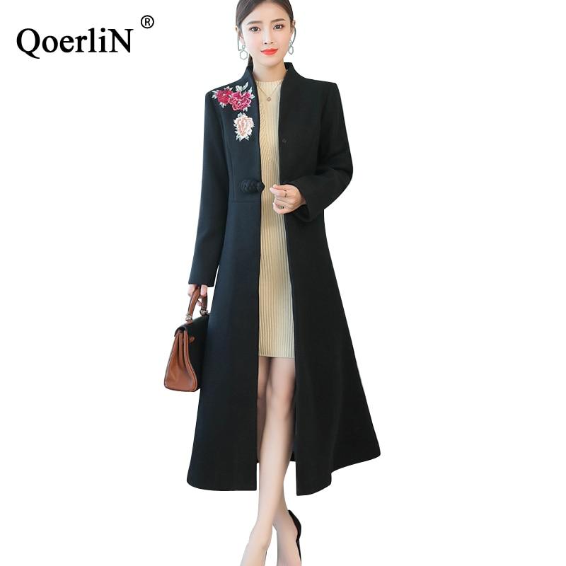 2018 Vestido Coat Con Bolsillo Qoerlin Chaqueta Hebilla Manga Invierno Lana  Nuevo Bordado Mezcla Larga Abrigo Mujer De Black Ropa ... 602f89db1b37