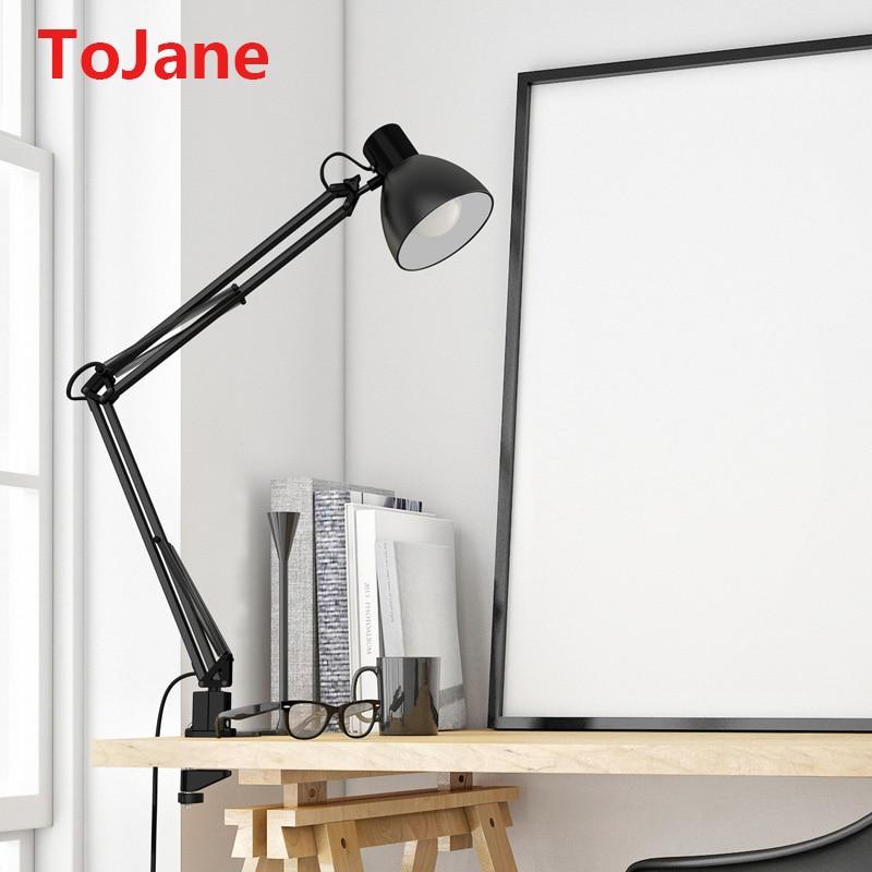 Neue Mode Tojane Schreibtisch Lampe Flexible Led Schreibtisch Lampe Hause Büro Led Tisch Lampe Metall Architekten Einstellbare Folding Lesebrille Licht Tropf-Trocken Lampen & Schirme