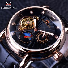 Forsining moda serie de lujo luminoso diseño rosa de oro caso reloj de los hombres top brand diamante pantalla tourbillion reloj automático