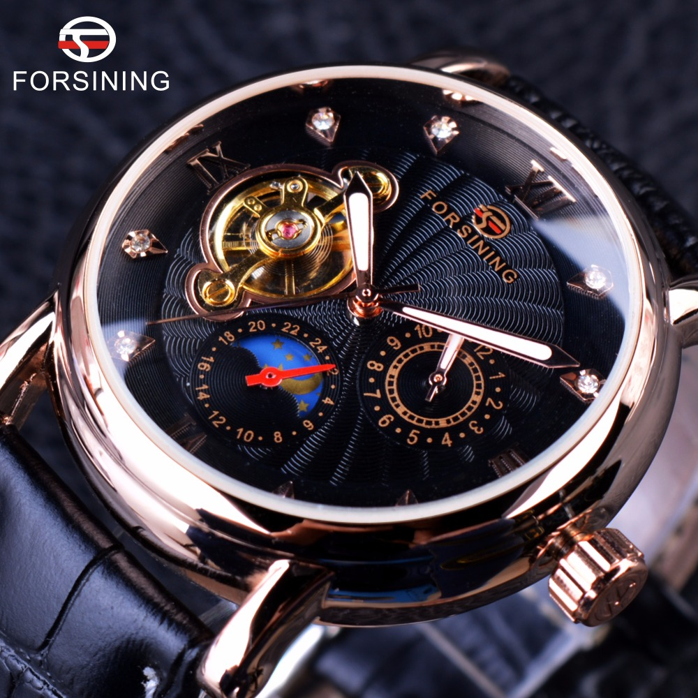 Prix pour Forsining mode de luxe série lumineux conception rose caisse d'or montre homme top marque tourbillon diamant affichage automatique montre