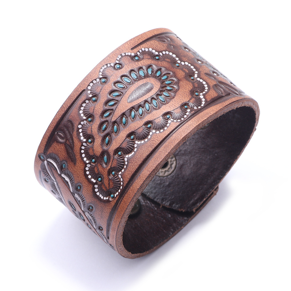 Us 3 55 15 Off Kirykle New Brown Black Vintage Genuine Leather Bangles Wide Bracelet For Women Cell Shape Punk Charm Jewelry In