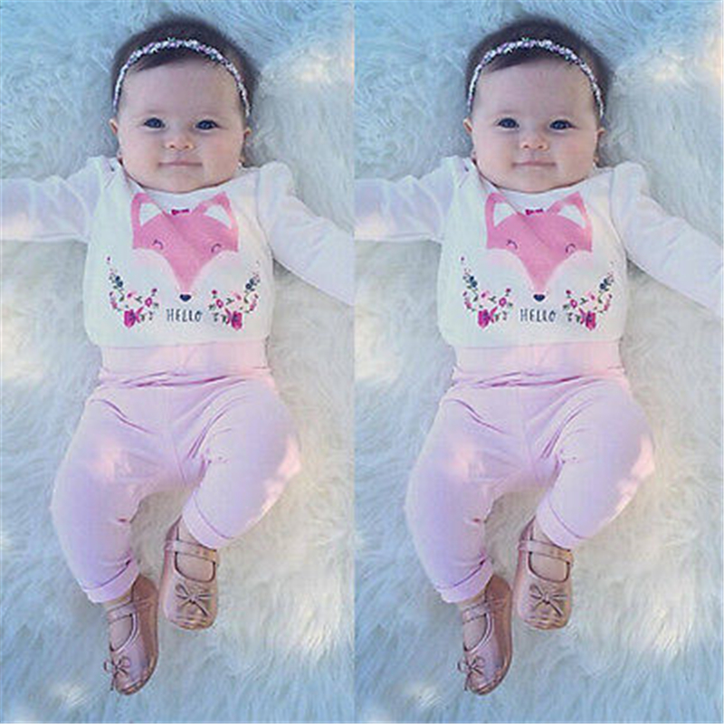 Newborn Baby Girl Clothes Set Pink Fox Long Sleeve Cotton Romper+Pants Trouser 2PCS 2017 New Outfit Bebes Kids Girl Clothing Set baby fox print clothes set newborn baby boy girl long sleeve t shirt tops pants 2017 new hot fall bebes outfit kids clothing set
