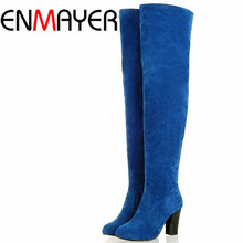 ENMAYER Black Blue Gray Over-the-Knee Boots Women Snow Fashion Winter Boots Shoes Women High Autumn Boots Size 34-43 Long Boots
