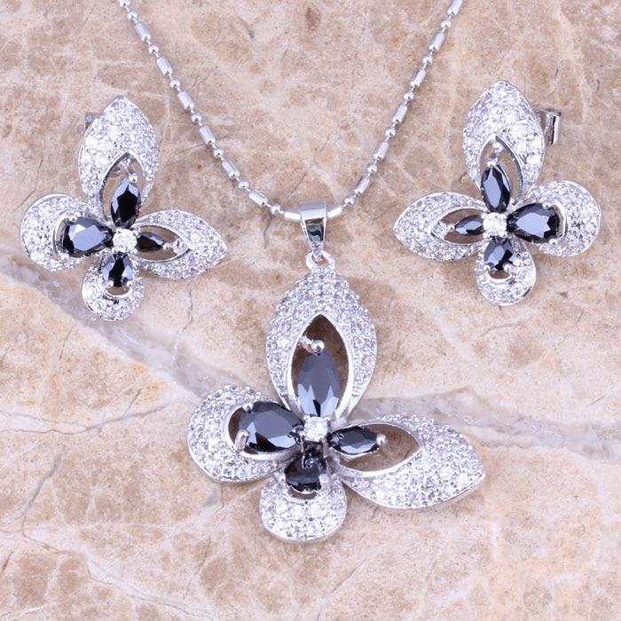 Royal Butterfly Black Cubic Zirconia White CZ Silver Earrings Pendant Necklace Jewelry Sets S0727 фонарь кемпинговый navigator 94 948 npt ca06 3aa светодиодный