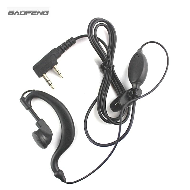 2 Pin Earphone Headset Earpiece PTT Microphone for Kenwood Baofeng Two Way Radio