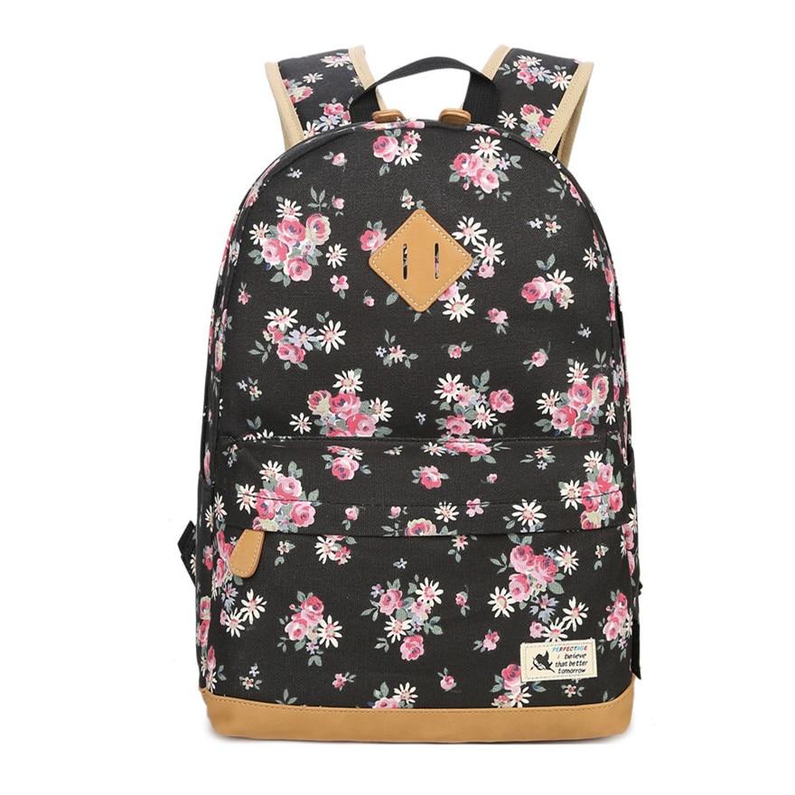 062f6ee2f79 Beste Koop Vintage zwarte bloemen canvas rugzak kids bloem laptoptas 14  kinderen schooltassen meisjes school rugzak meisje schooltas boekentas  Goedkoop
