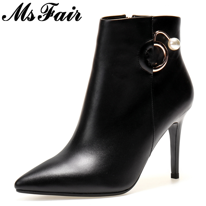 все цены на MsFair Pointed Toe Super High Heel Women Boots Fashion Thin Heels Ladies Ankle Boot 2017 New Winter Zipper Crystal Women's Boots