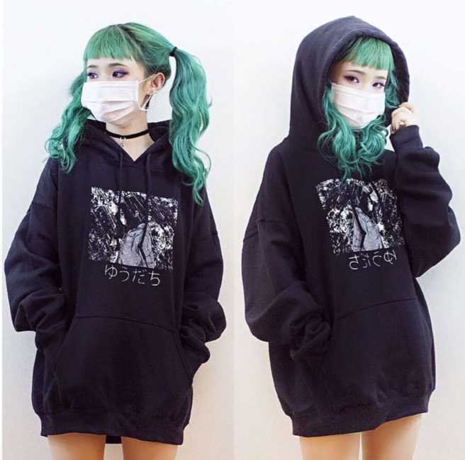 34527db358d Women s Cool Harajuku BF Loose Style Black Hooded Sweatshirt Winter Long  Sleeve Japanese Manga Comics Print