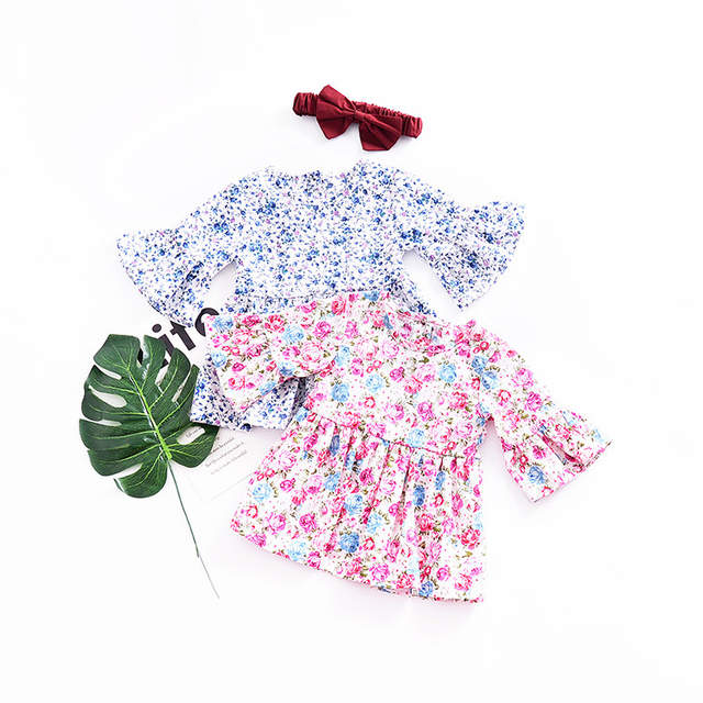 d337bd6a45220 US $9.49  Summer Pastoral style Child Girls Floral Dress Sweet Speaker  sleeve Cotton Infant Girls Princess Dress Children's Clothes-in Dresses  from ...