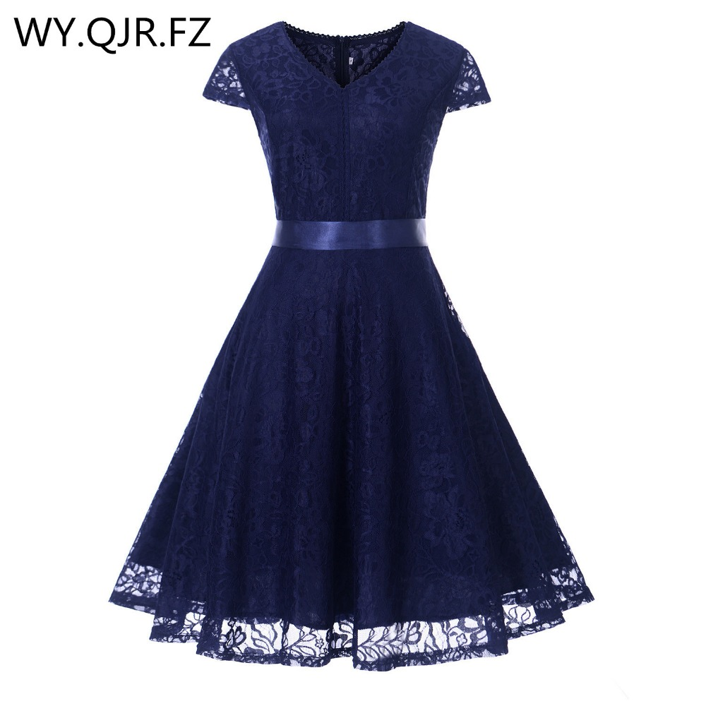 OML523Z#V-neck Lace Navy Blue Short Evening Dresses Classmate Party Dress 2019 Prom Gown Women's Fashion Wholesale Clothing Girl
