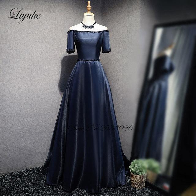 Aliexpress Buy Liyuke Navy Blue A Line Evening Dress With