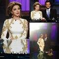 Vestido festa saudita elegantes cantor Myriam Fares se veste de moda de nova dourados Appliuques Lace frisada Evening Celebrity Dress ZY137