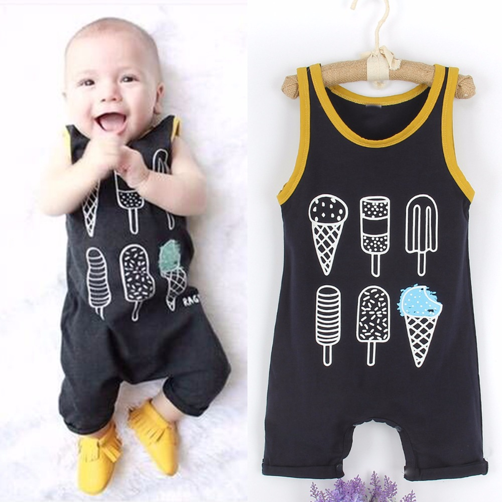 Puseky 2017 Baby Clothing Sleeveless Rompers Newborn Toddler Infant Baby Boy Girl Cotton Ice cream Romper Jumpsuit Cloth Sunsuit