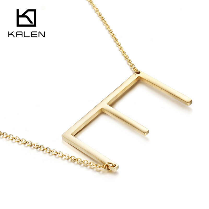 kalen gold color capital letter e pendant necklaces for women new brand stainless steel alphabet fashion