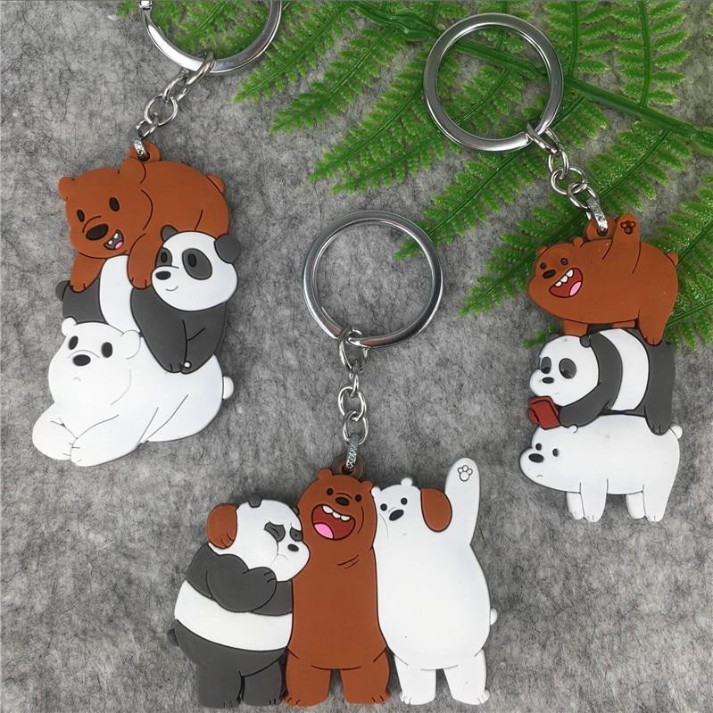 Ornaments We Bare Bears Keyrings 3D Foam Bell Ring Ice Bear Grizzy Panda Pendant