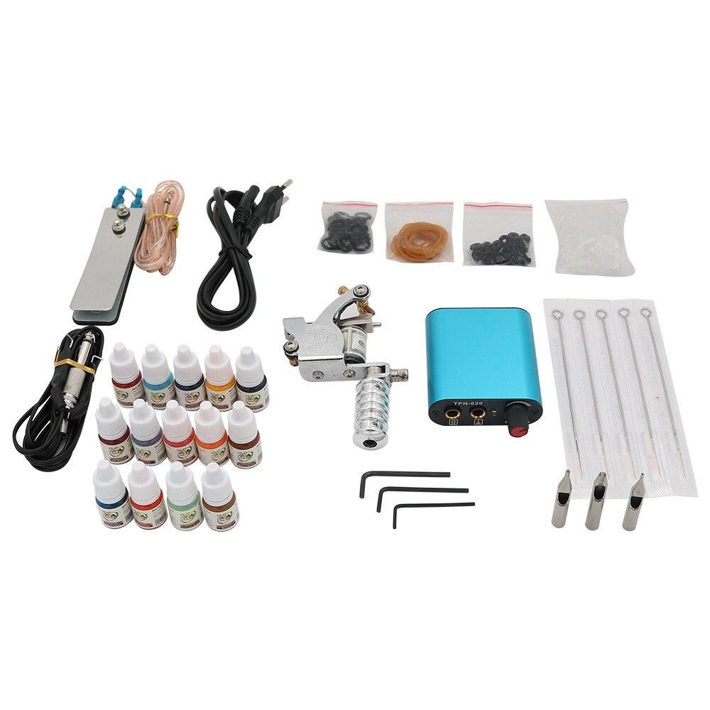 Kit de tatouage rotatif Machine à tatouer ensemble avec encres de couleur pistolet à tatouage professionnel alimentation électrique pointe Tube et aiguilles art corporel